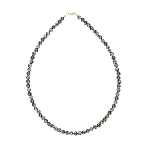 collier obsidienne flocon de neige pierres boules 6mm