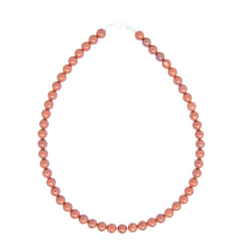 collier jaspe rouge pierres boules 8mm
