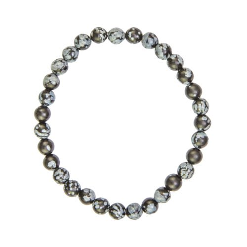 bracelet obsidienne flocon de neige pierres boules 6mm