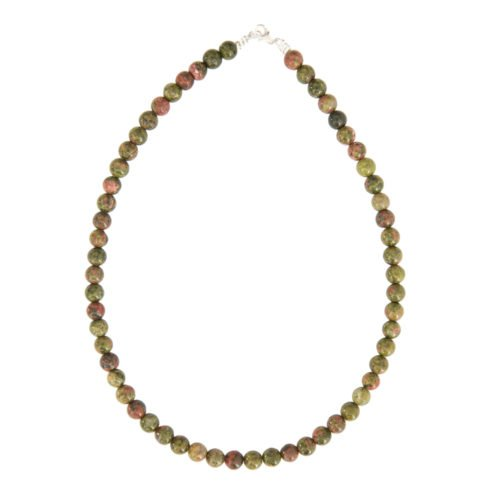 collier unakite pierres boules 8mm
