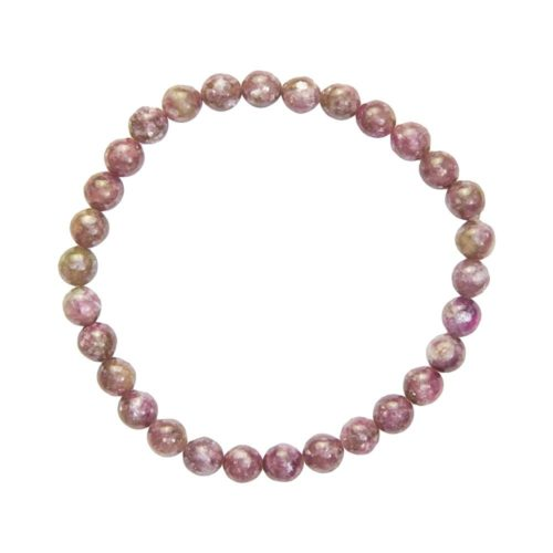 bracelet tourmaline rose pierres boules 6mm