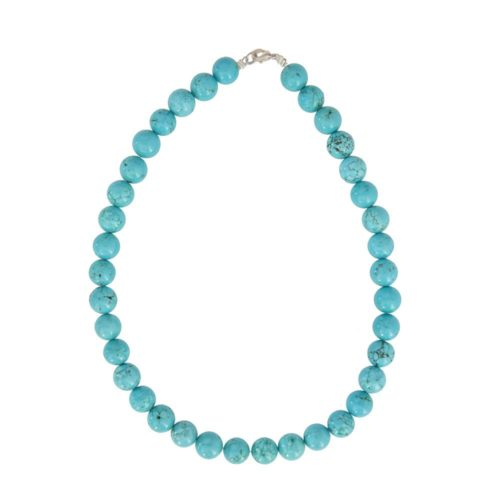 collier turquoise pierres boules 12mm