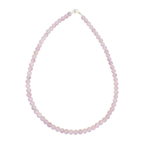collier quartz rose pierres boules 6mm