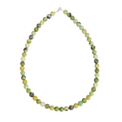 collier chrysoprase pierres boules 8mm