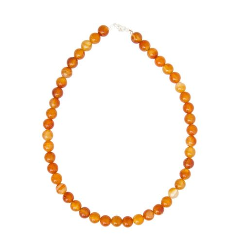 collier cornaline pierres boules 10mm