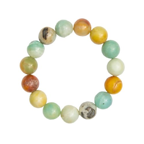 bracelet amazonite multicolore pierres boules 12mm