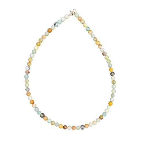 collier amazonite multicolore pierres boules 6mm