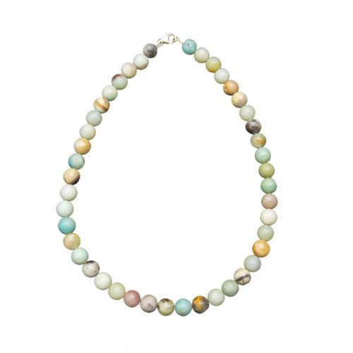 collier amazonite multicolore pierres boules 10mm