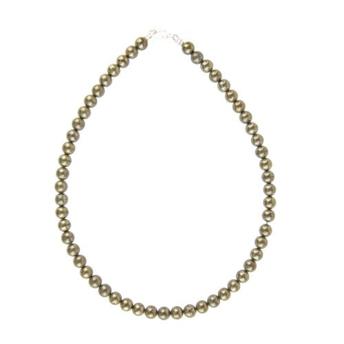 collier pyrite de fer pierres boules 8mm