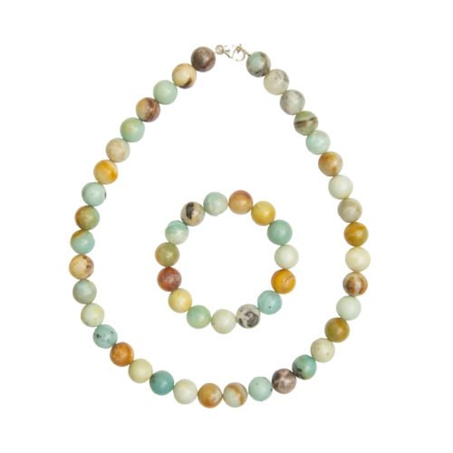 coffret amazonite multicolore pierres boules 12mm