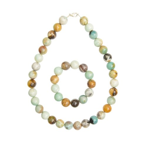 coffret amazonite multicolore pierres boules 14mm
