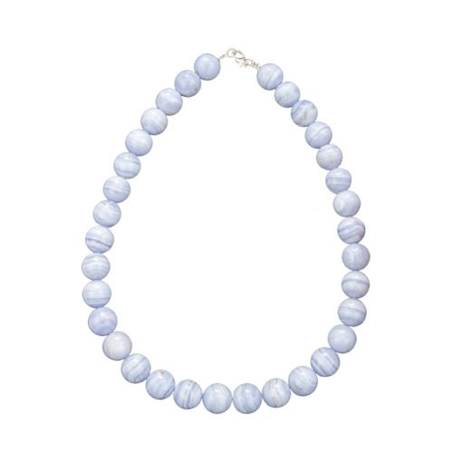collier calcédoine pierres boules 14mm