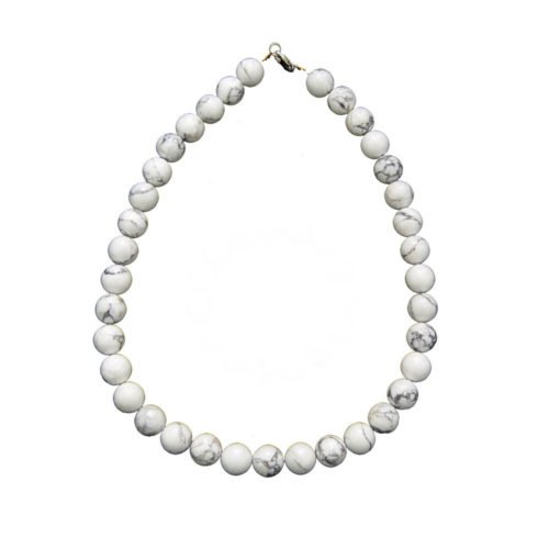 collier howlite pierres boules 12mm