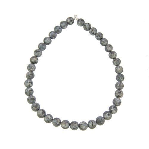 collier larvikite pierres boules 12mm