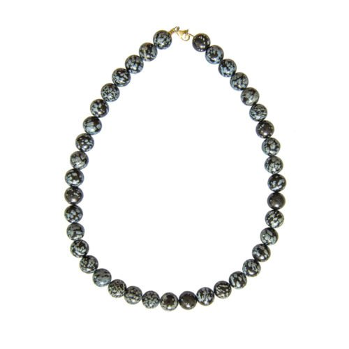 collier obsidienne flocon de neige pierres boules 12mm