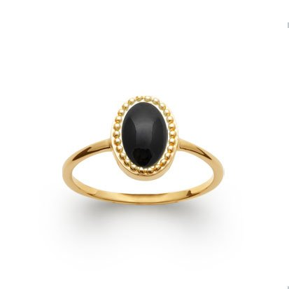 Black Agate 'Alexandra' Ring - Gold Plated 750