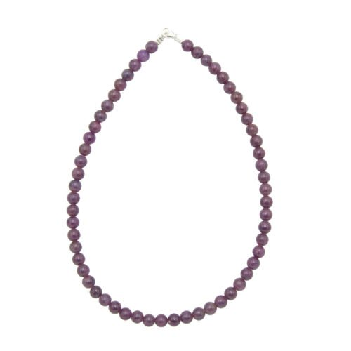 collier rubis pierres boules 8mm