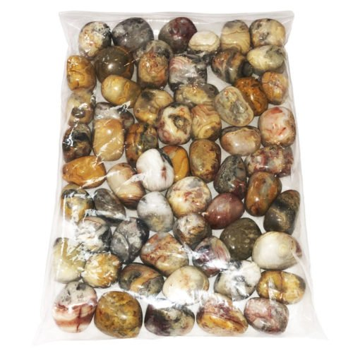 1kg bag of Crazy Lace Agate tumbled stones