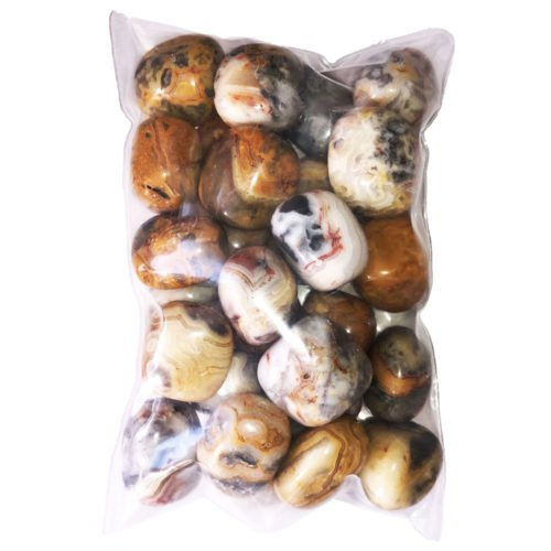 500grs bag of Crazy Lace Agate tumbled stones