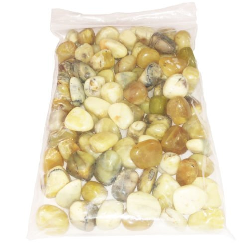 bag of yellow Opal tumbled stones
